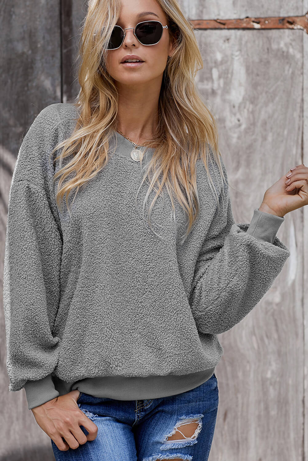 Gray Terry Thread Cashmere Sweathshirt
