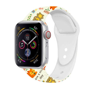 Silicone Floral Printed Strap For Apple watch band - Christmas gift