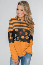 Stripes and Halloween Pumpkin Print Hoodie