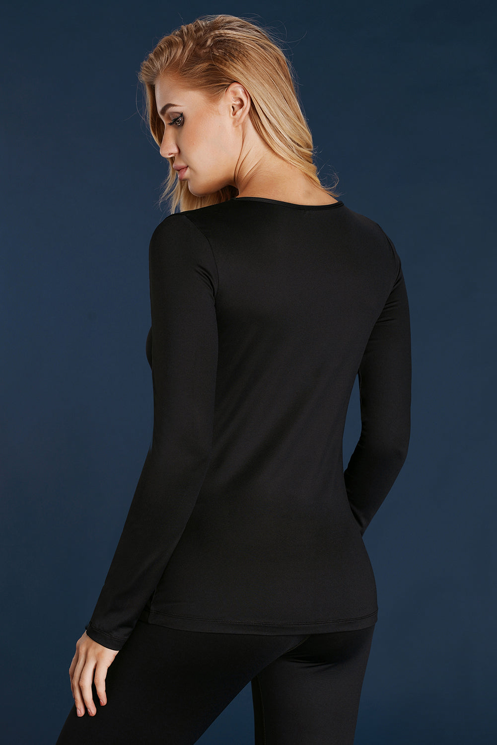 Black Basic Long Sleeves Round Crew Neck Yoga Top
