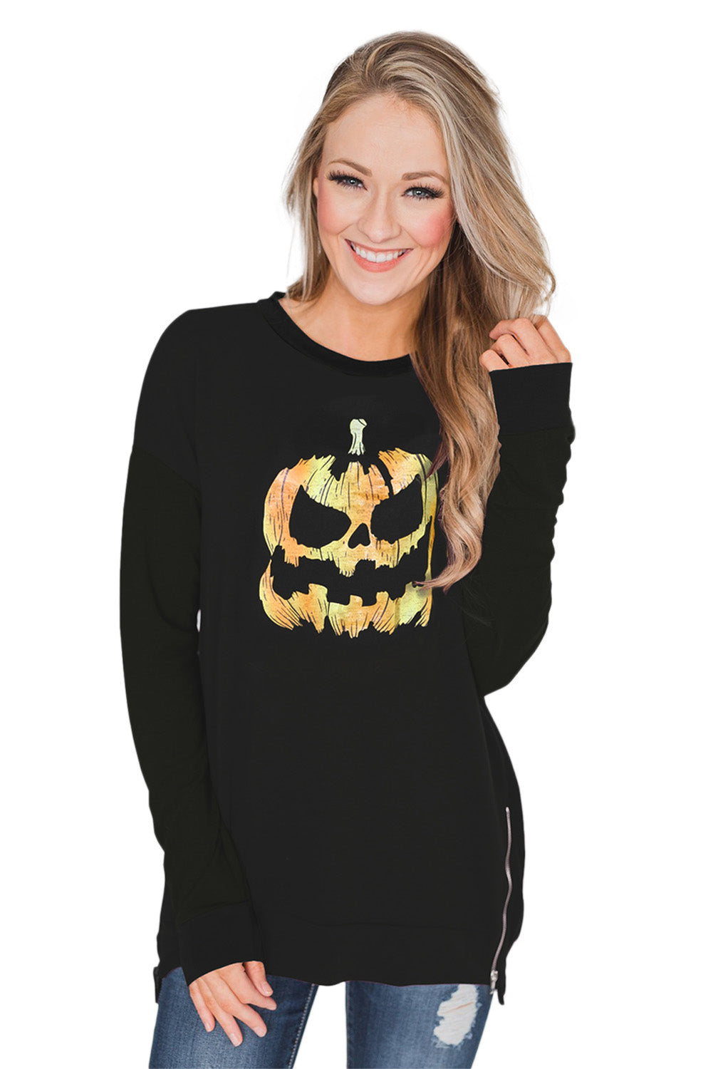 Halloween Theme Pumpkin Pattern Zipped Sweatshirt