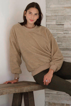 Khaki Terry Thread Cashmere Sweathshirt