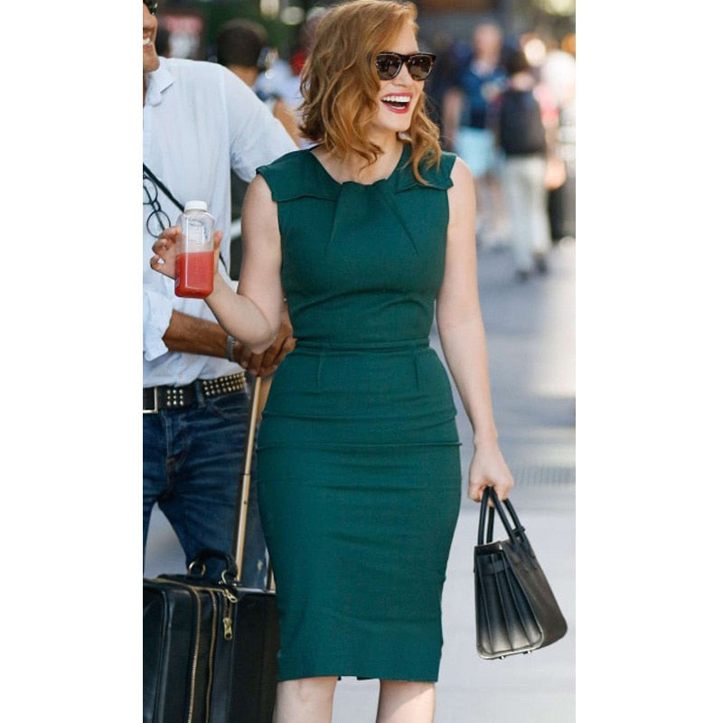 Womens Casual Party Fitted Bodycon Pencil Dress