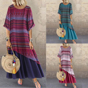 Women's Casual loose maxi dress Print Sleeveless Plus Size
