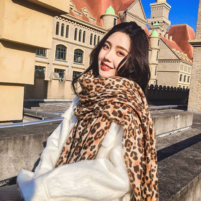 Women Long Winter Blanke Leopard Printed Shawl All-match