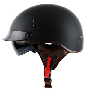DOT Certified Half-Face Retro Motorcycle Helmet c/w Retractable Visor