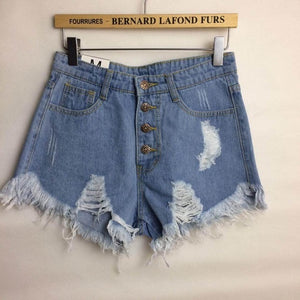 Women's Worn Loose Burr Hole Ripped Jean Shorts