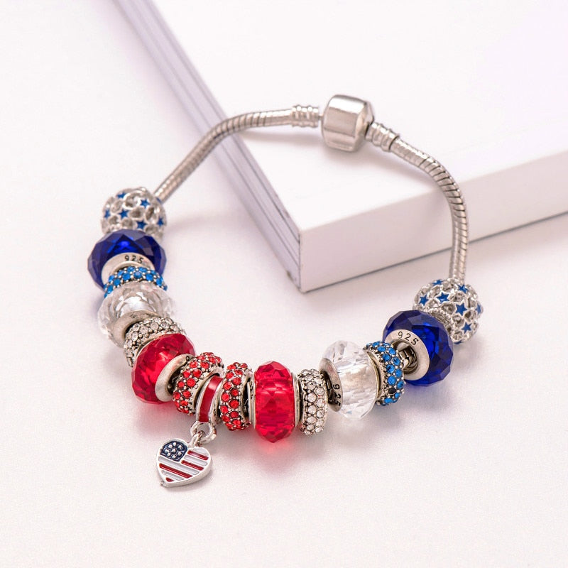 Women Diy Beads Jewelry Heart Shaped Usa Flag Charm Bracelet
