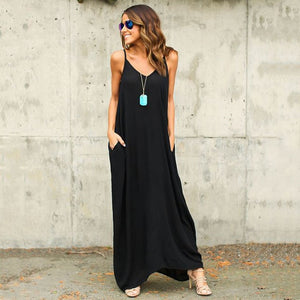 Women's Sexy Loose V-neck maxi Dress long
