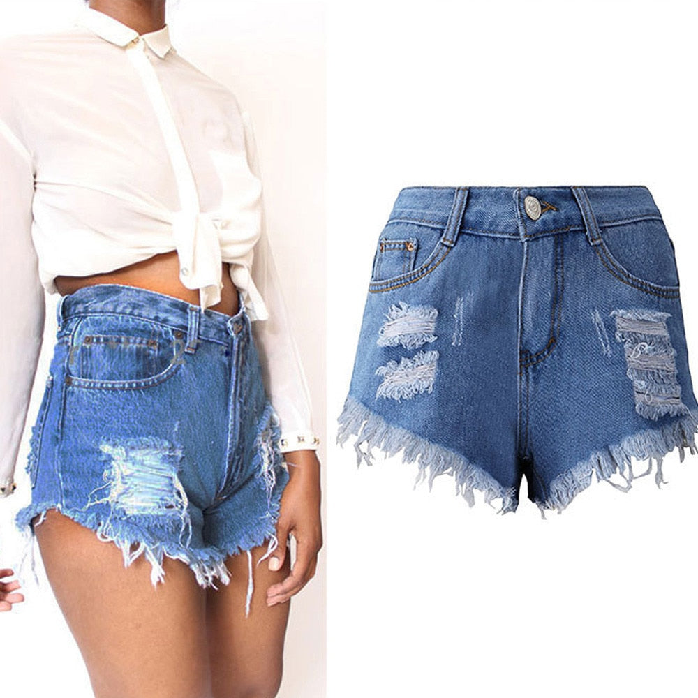 Summer Denim Short Jeans Women Sexy High Waist Hole Ripped Shorts