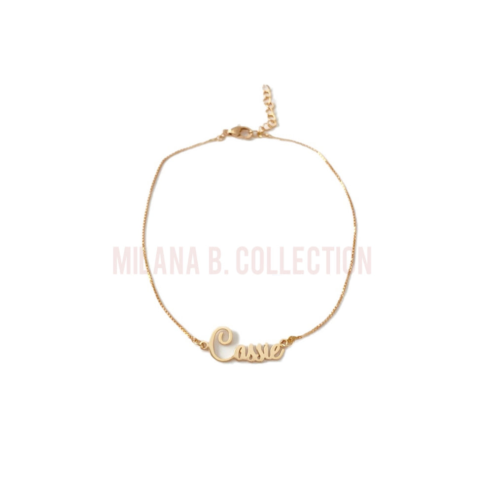 Load image into Gallery viewer, Gold Nameplate Anklet