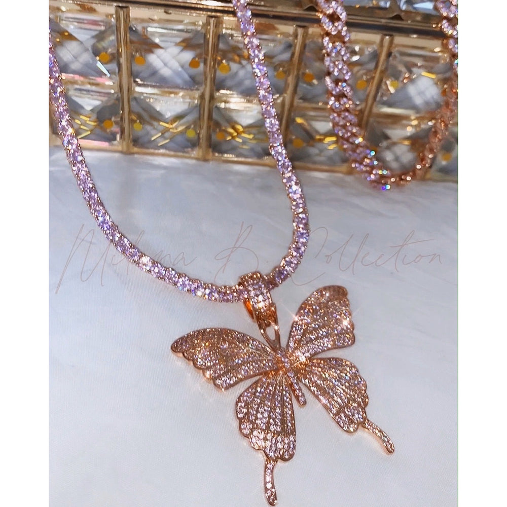 Pink Icy Butterfly Necklace II