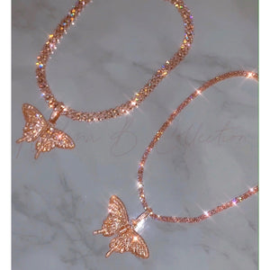Pink Icy Butterfly Necklace