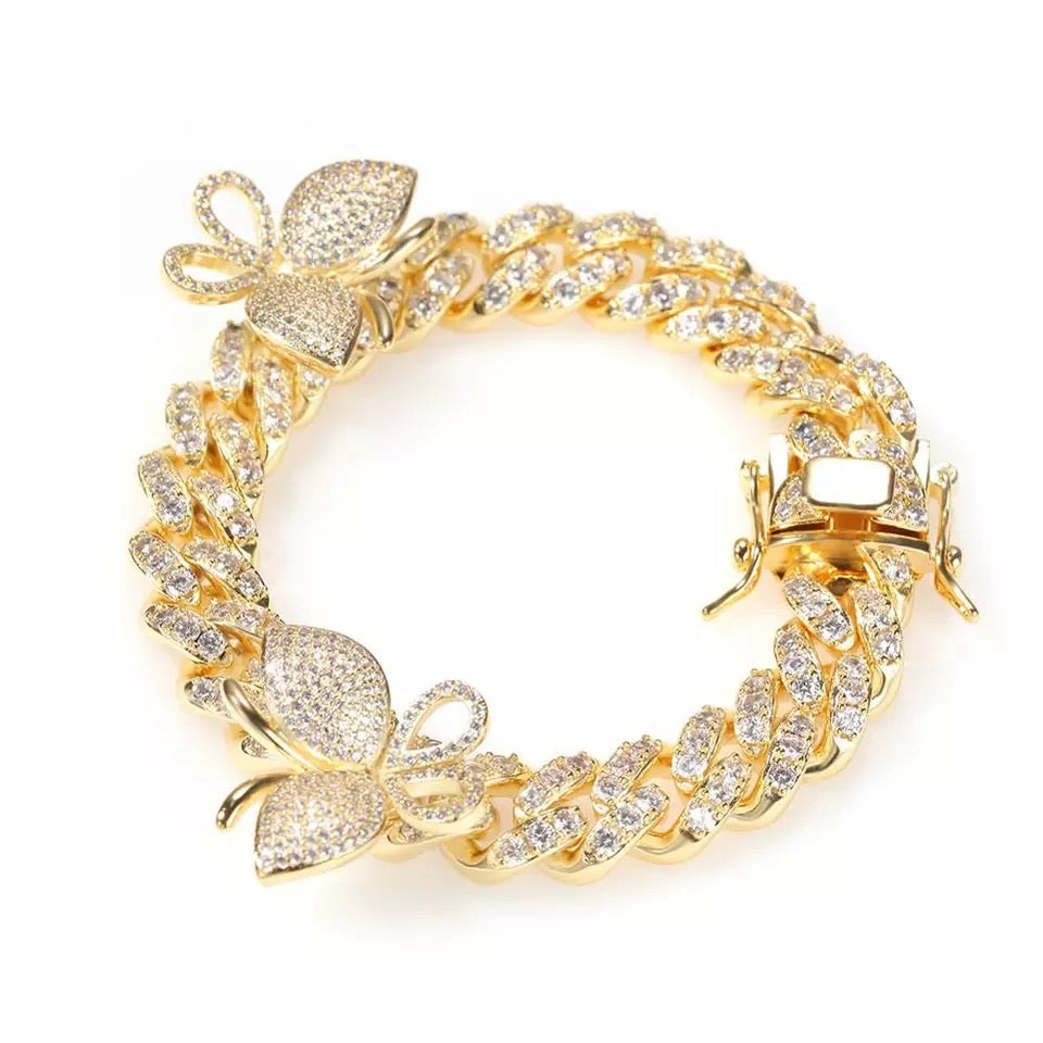 Gold Butterfly Cuban Bracelet