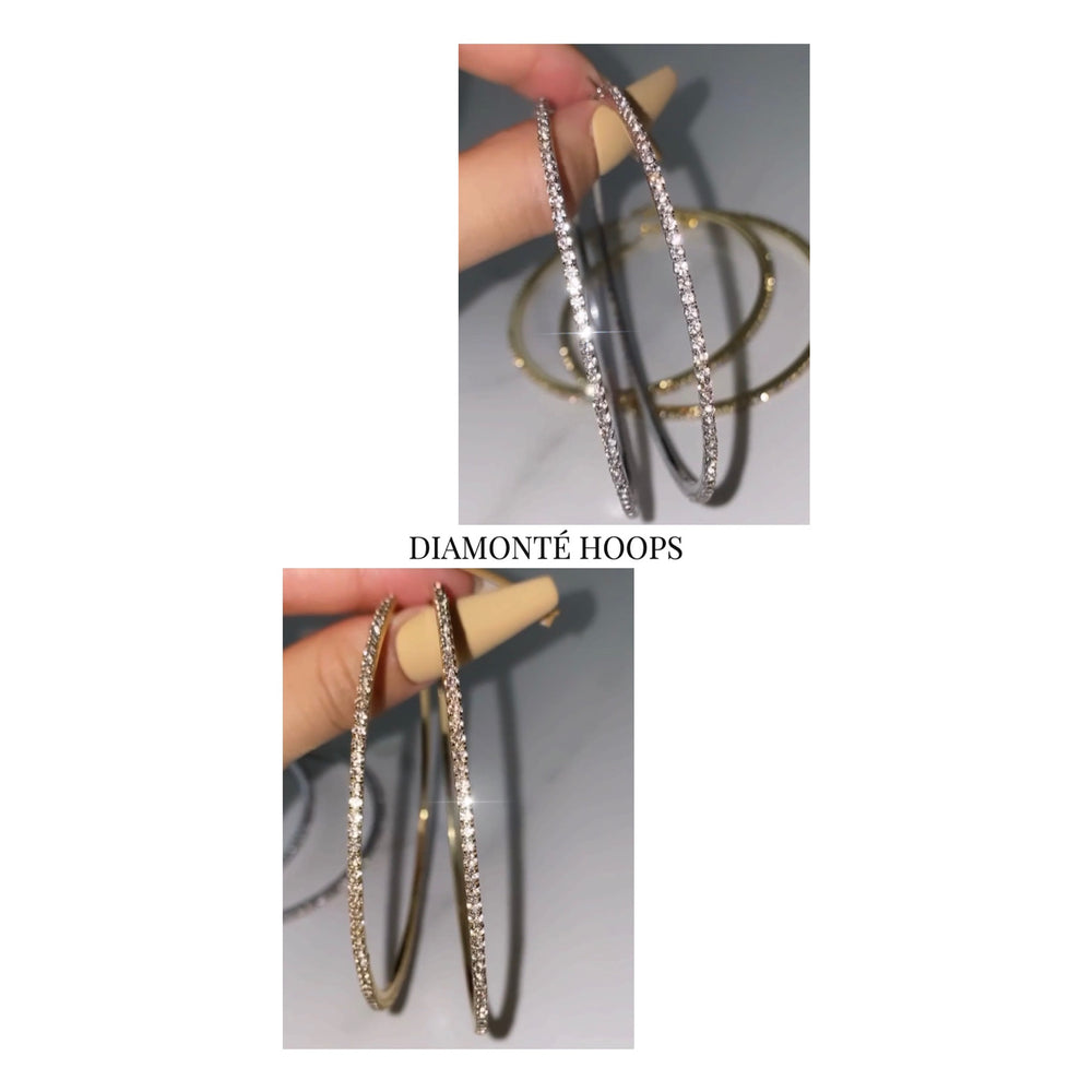 Load image into Gallery viewer, Diamonté Hoops