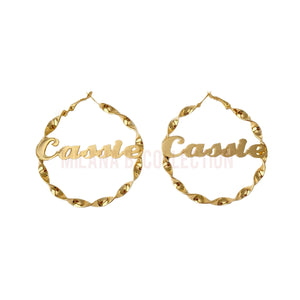 Twisted Nameplate Hoops