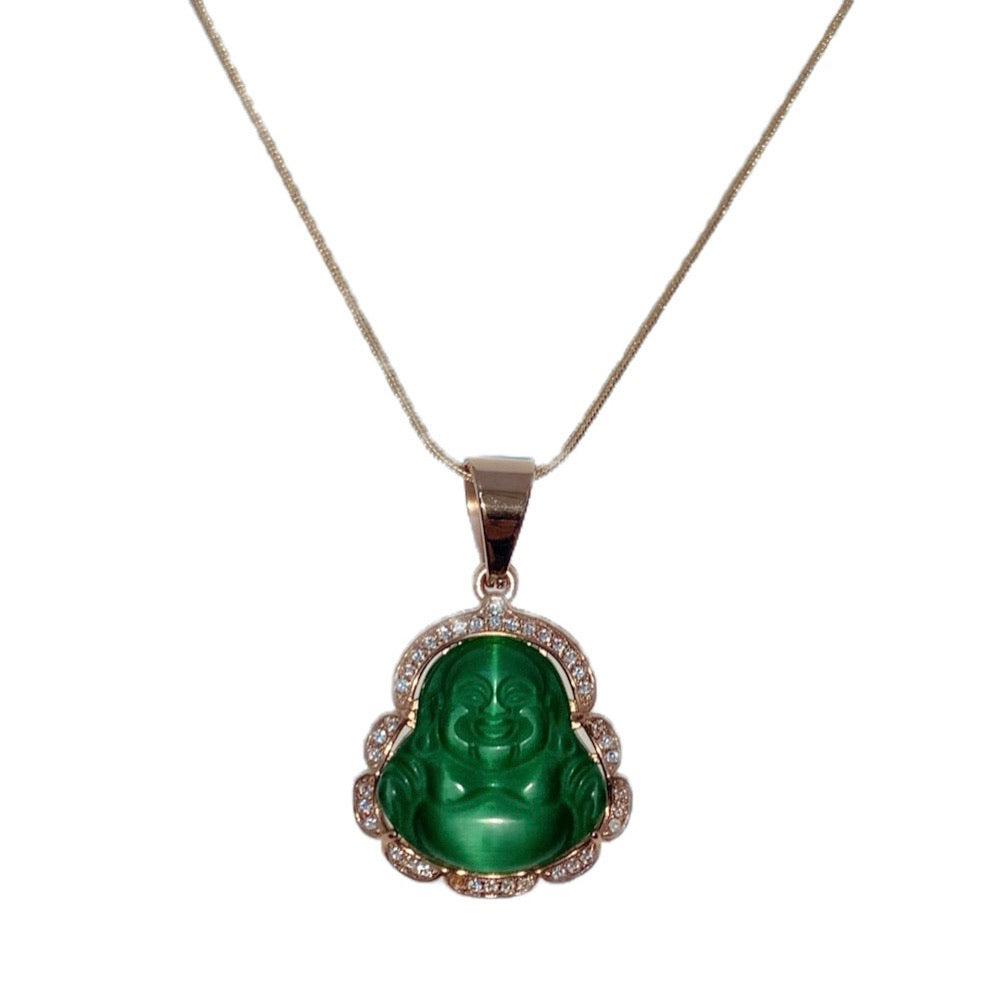 Icy Green Buddha Jade Necklace
