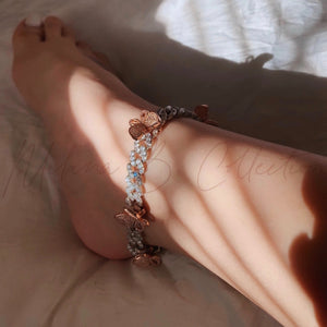 Load image into Gallery viewer, Butterfly Cuban Anklet | Silver/Pink