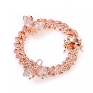 Load image into Gallery viewer, Pink Butterfly Cuban Bracelet