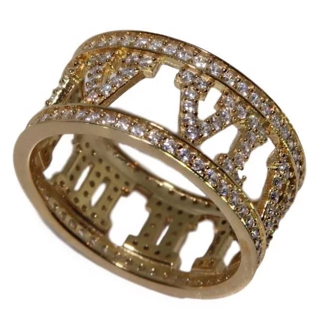 Gold Crystal Roman Numeral Ring