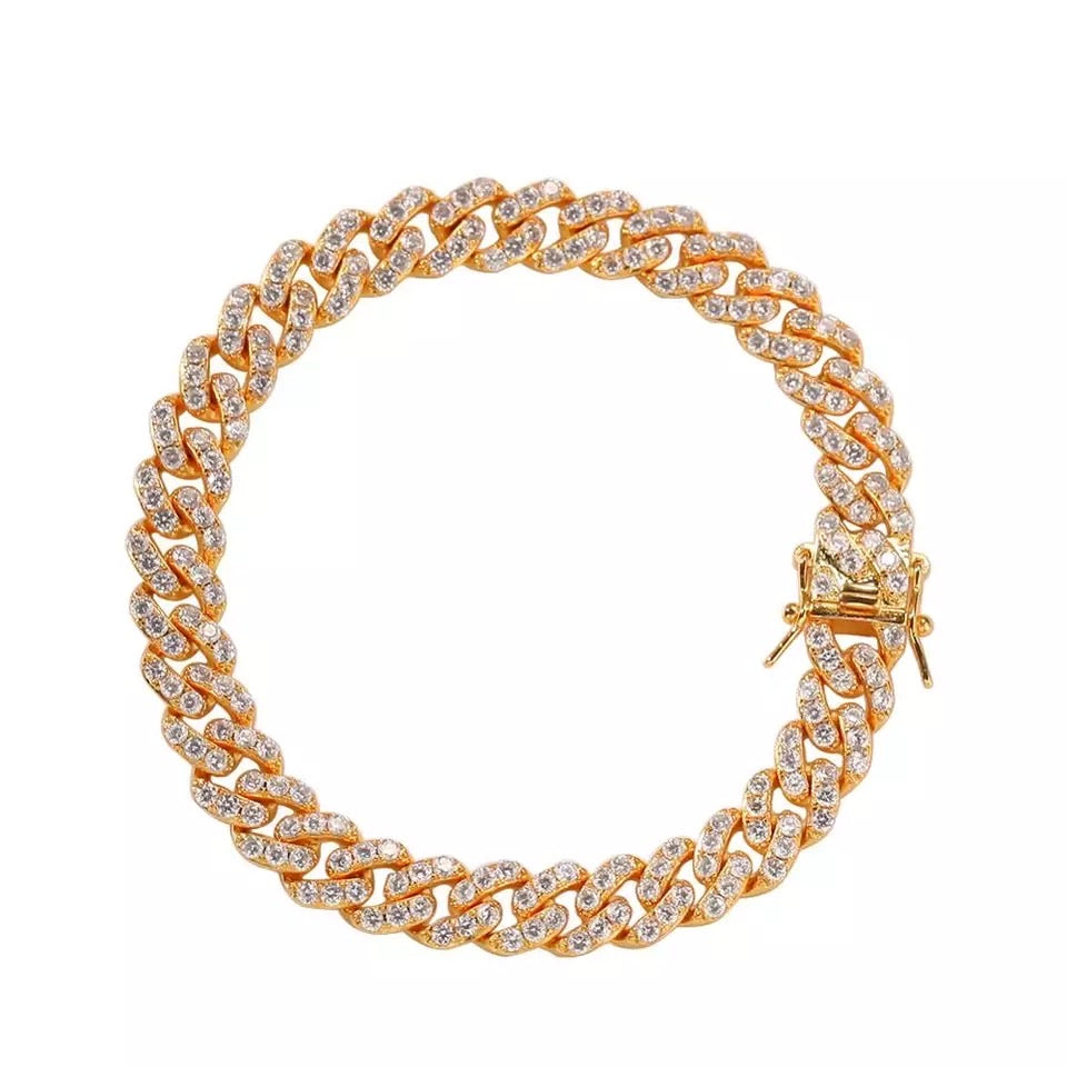 Gold Crystal Cuban Link Anklet
