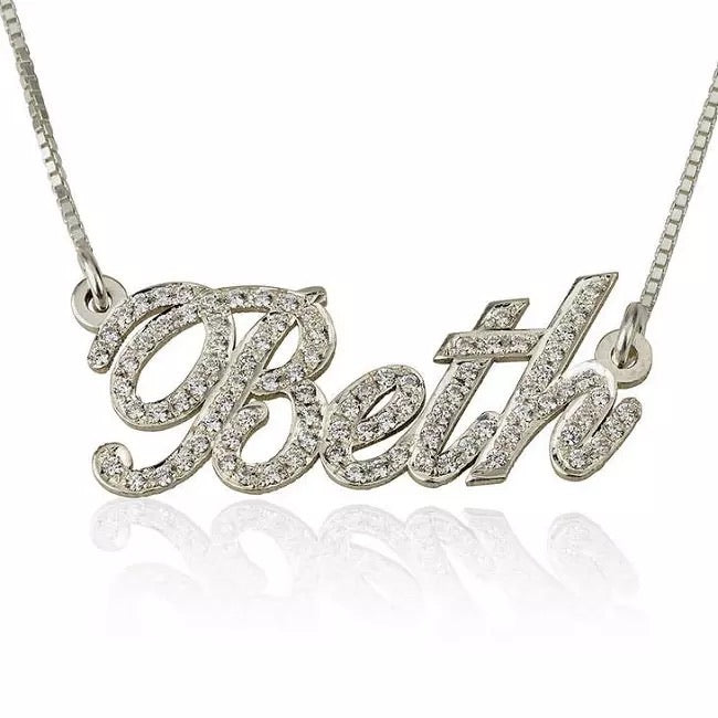 Dainty Icy Nameplate Necklace
