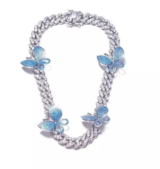 Load image into Gallery viewer, Butterfly Cuban Link | Silver/Blue