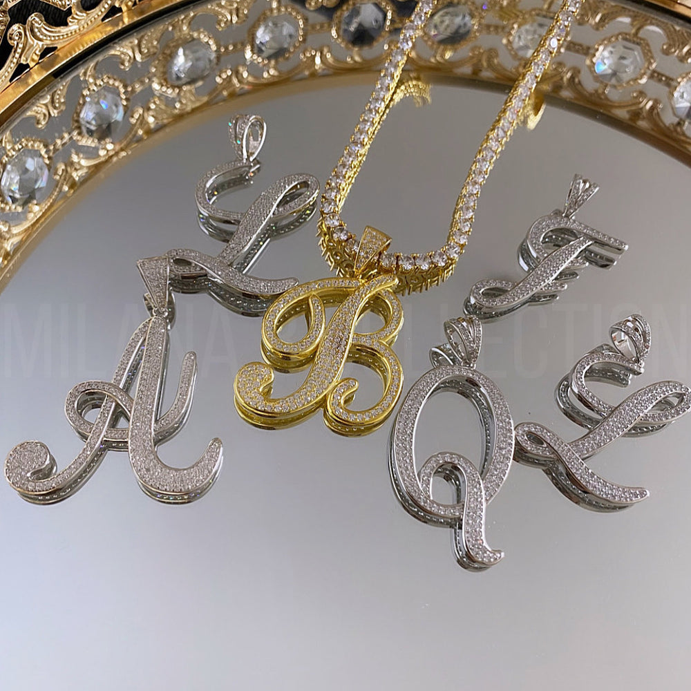 Load image into Gallery viewer, MBC Script Initial Tennis Necklace | Silver