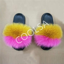 Load image into Gallery viewer, Real Fox Fur Slippers