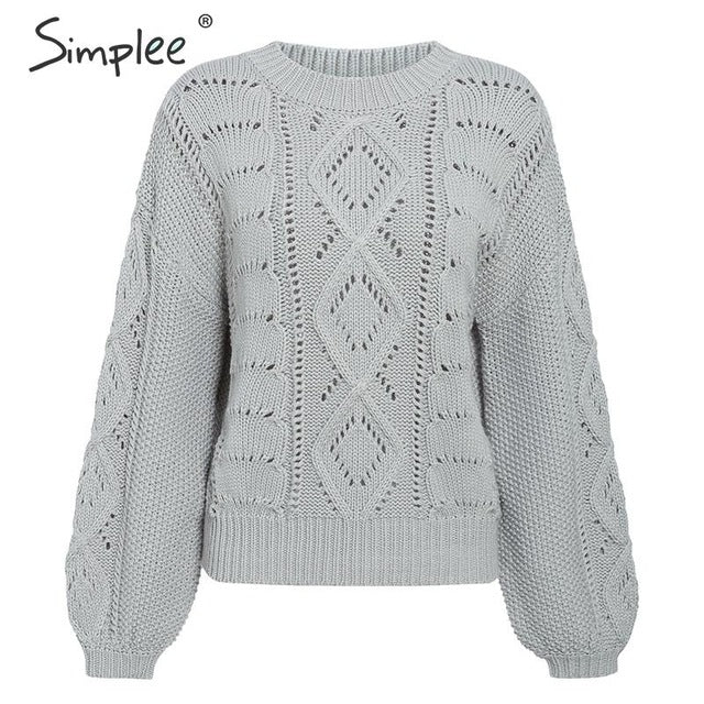 SIMPLEE: Hollow Sweater