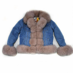 Real Fur European Denim Jacket