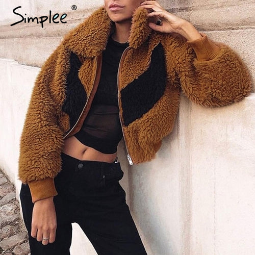 Simplee: Shaggy Fur Jacket