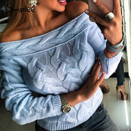 Simplee: Off -Shoulder Knitted Sweaters