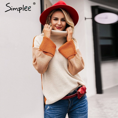 SIMPLEE: Patchwork Knitted Sweater