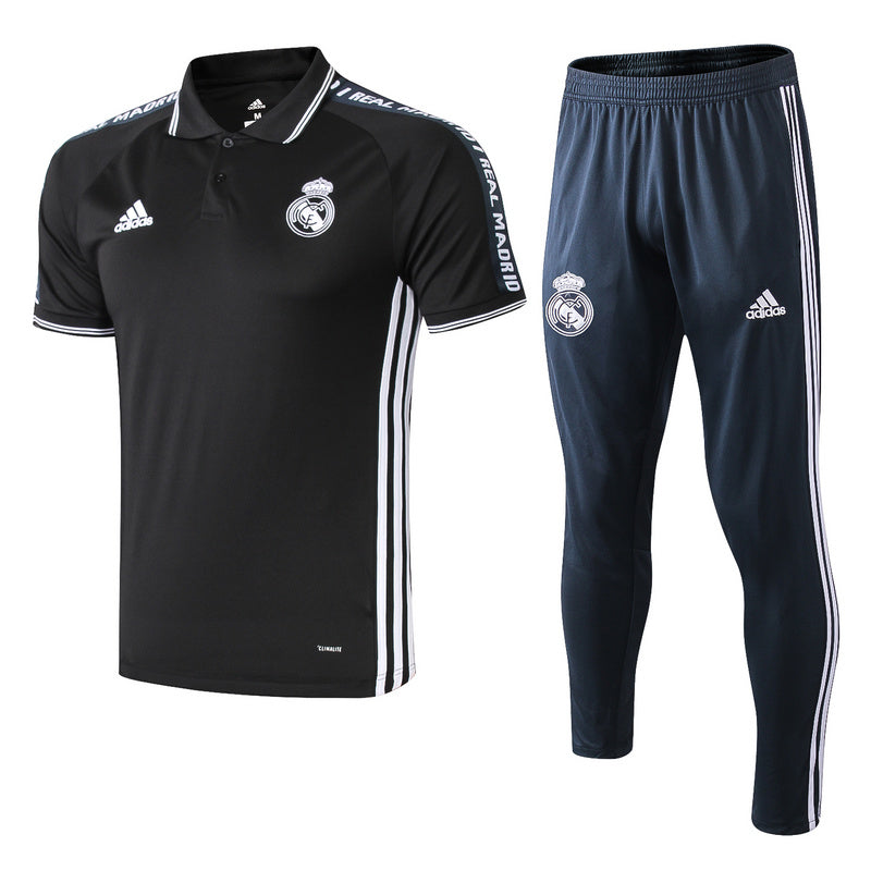 23f760295ab ... REAL MADRID Crest Polo training BLACK DARK BLUE WHITE ( Top. Hover to  zoom