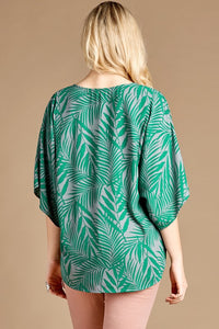 Curvy Front Tie, Palm Printed Top