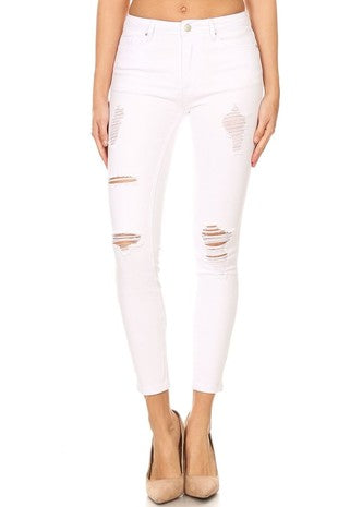 White Distressed Jeans- Curvy