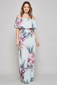 Mint Tropical Off Shoulder Dress S-3X