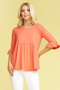 3/4 Sleeve Baby Doll Top S-3X *3 COLORS AVAILABLE*