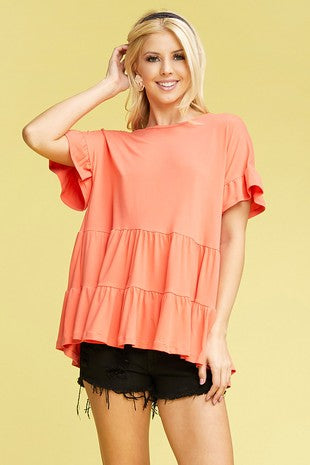 Coral Baby Doll Top S-3X