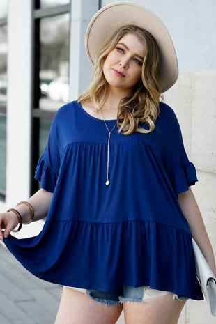 Navy Blue Baby Doll Top S-3X
