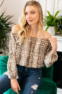 Snake Print Off Shoulder Top- Curvy