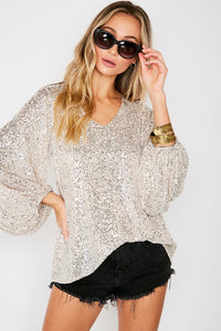Sequin Balloon Sleeve Tops
