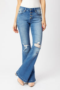 Kan Can Mid Rise Distressed Flare