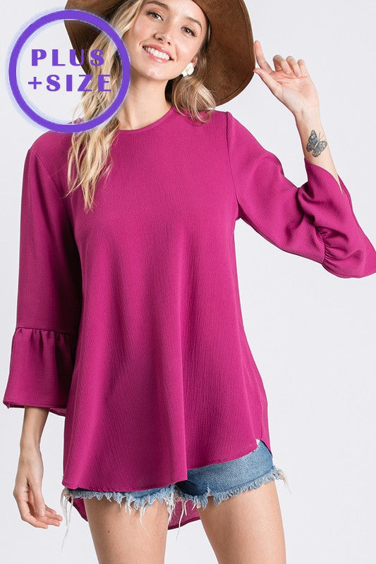 Bell Sleeve Top- Curvy  *4 Colors Available*