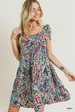 Load image into Gallery viewer, Navy Floral Babydoll Dress