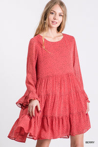 Berry Polka Dot Chiffon Tiered Ruffle Dress