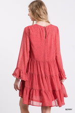 Load image into Gallery viewer, Berry Polka Dot Chiffon Tiered Ruffle Dress