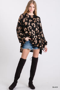 Metallic Leopard Print Oversized Sweater