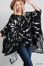 Load image into Gallery viewer, Black Tie Dye Poncho